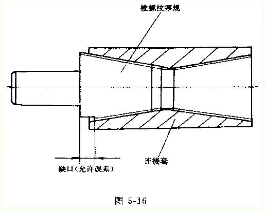 钢筋锥螺纹连接工艺简介     螺纹套连接法的原理比较直观和简单,它的工作示意见图5-13。在被连接的钢筋端部加工出外丝扣,而套筒两端则设有内丝扣,将套筒拧在1根钢筋上,再把另1根钢筋拧上套筒的另一端,就实现了连接。  螺纹套连接方法的应用范围与套筒挤压连接方法一样,即一般用于直径为16-40mm的级、级钢筋(包括余热处理钢筋)。这种方法分锥螺纹连接和直螺纹连接两种。 1.